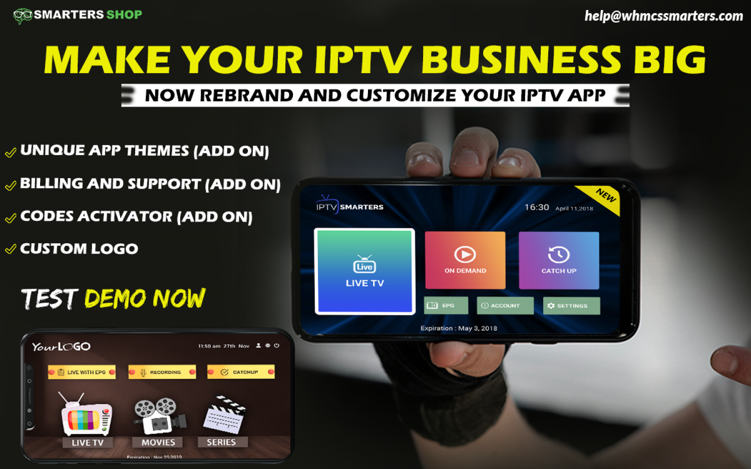 REBRAND AND CUSTOMIZE YOUR IPTV APPS HERE Infographic
