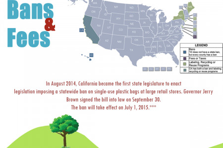 Recycling and Reuse of Plastic Waste - Fees, Taxes and Bans in United States Infographic