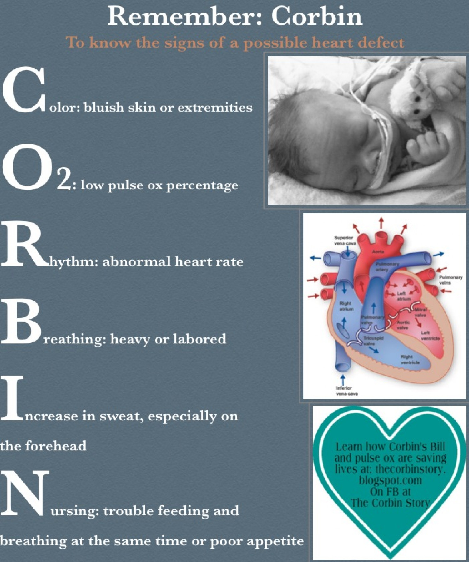 Remember CORBIN to learn the signs of a possible heart defect Infographic