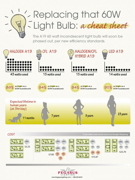 Replacing that 60W Light Bulb Infographic