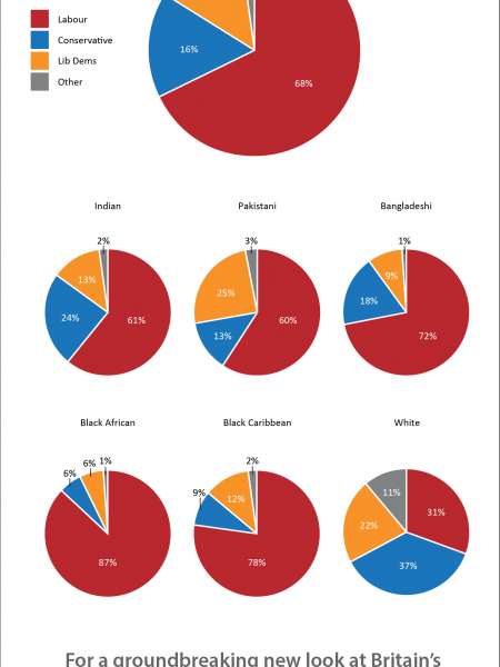 Reported Vote Share for Different Ethnic Groups in the 2010 General Election Infographic