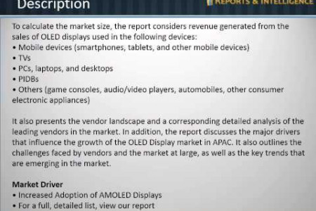 Reports and Intelligence: OLED Display Market - Analysis, Research, Report, Opportunities, 2014-2018 Infographic