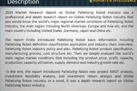 Reports and Intelligence: Palletizing Robot Industry Market - Size, Share, Analysis, global trends, 2014 Infographic