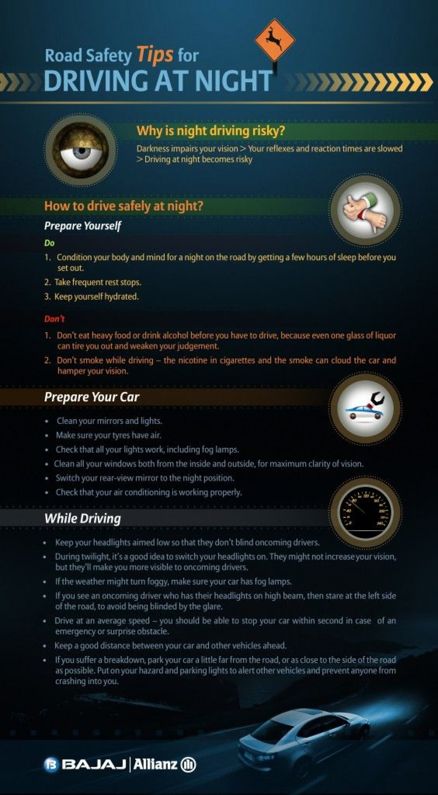 Road Safety – Tips for Driving at Night Infographic