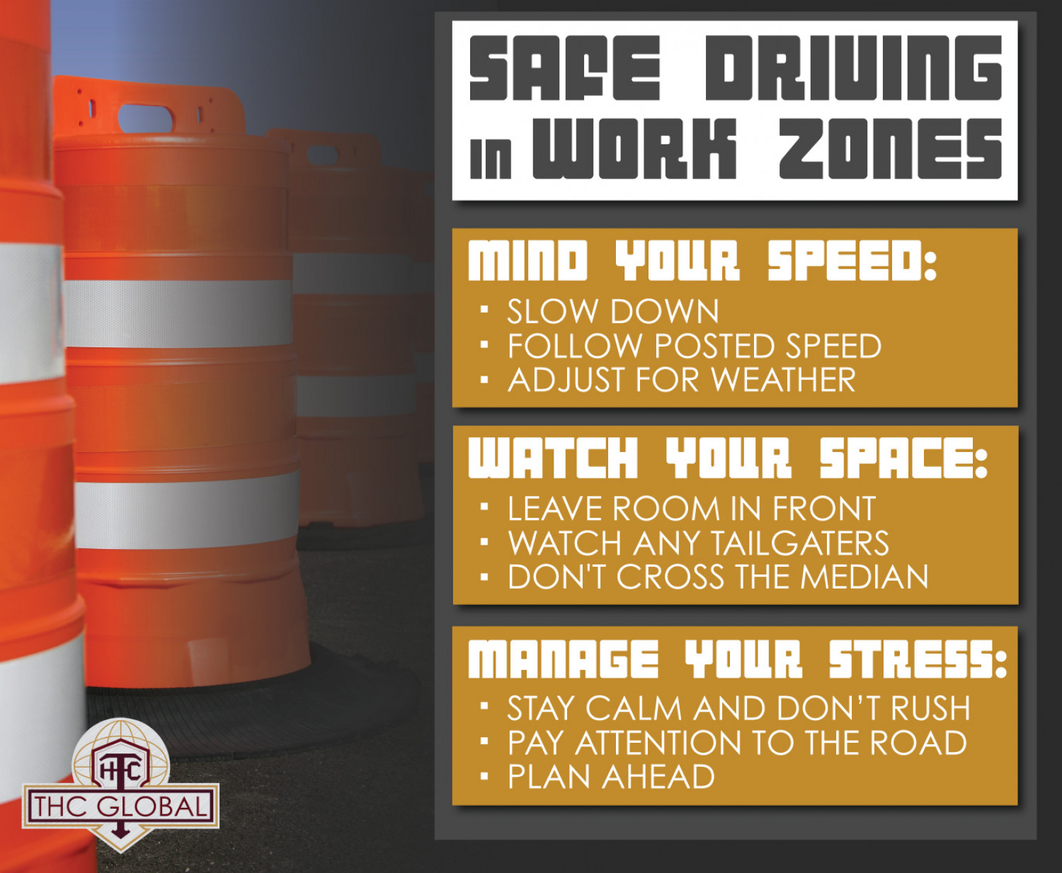 Safe Driving in Work Zones Infographic