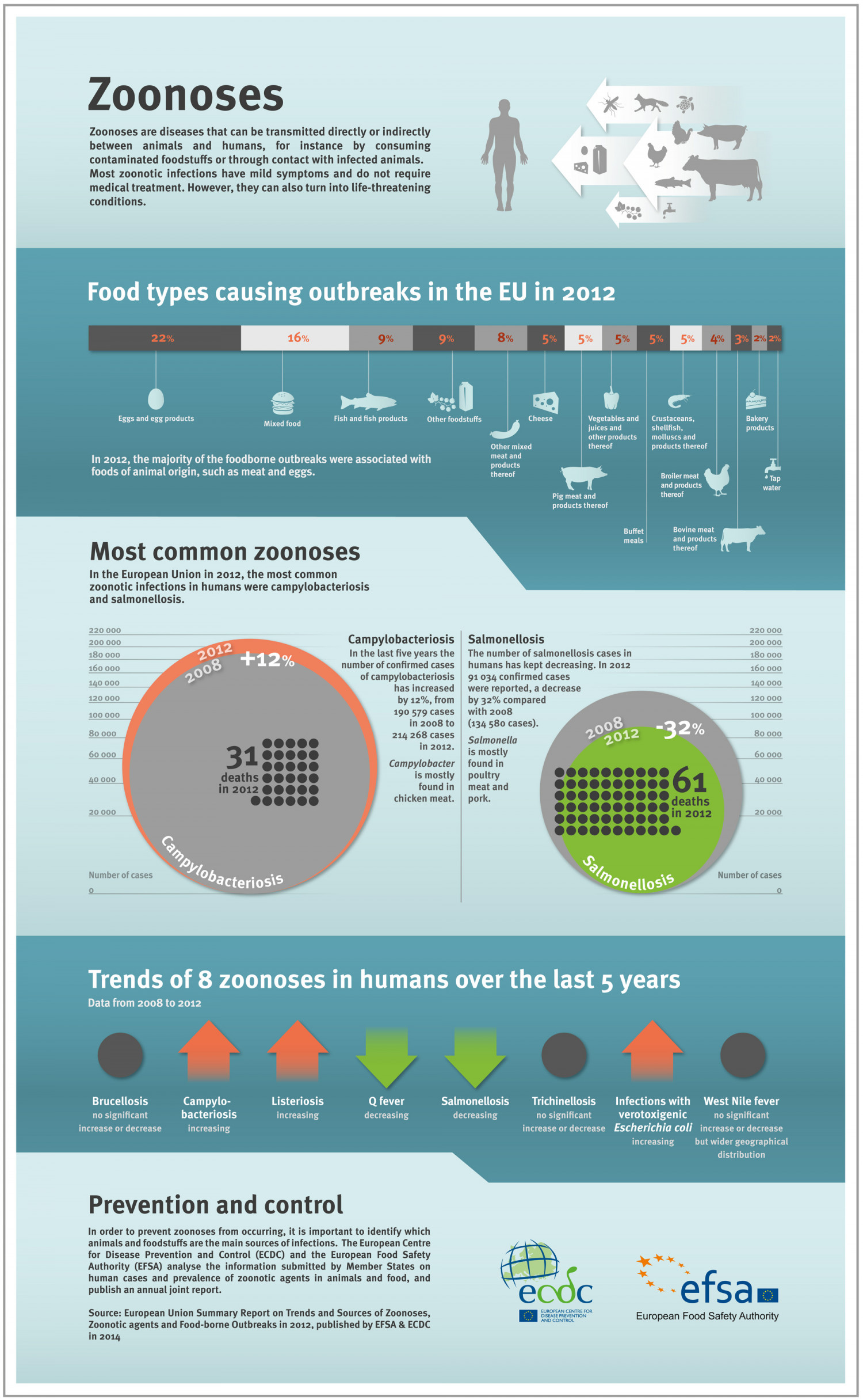 Salmonella and Campylobacter - Zoonoses in Europe Infographic