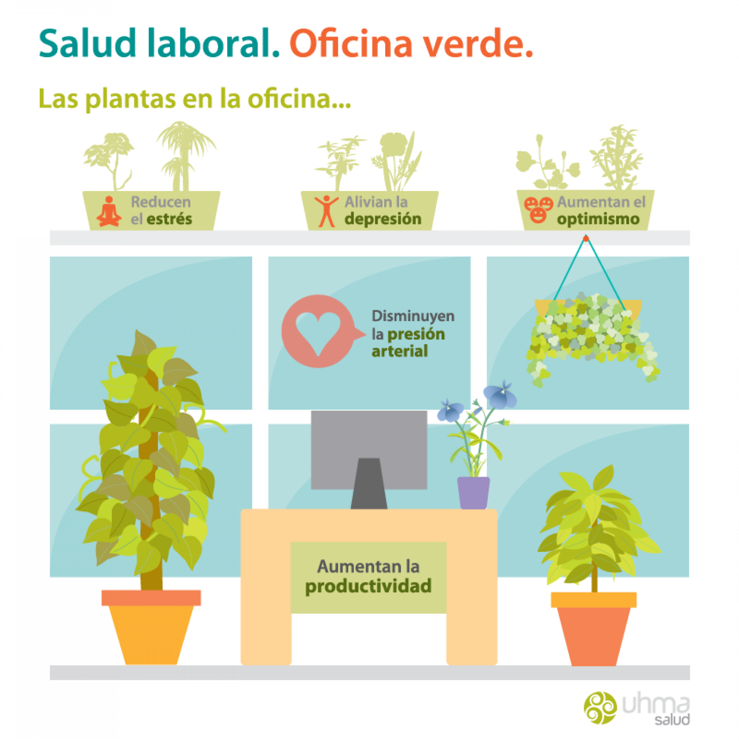 Salud laboral. Oficina verde. Infographic