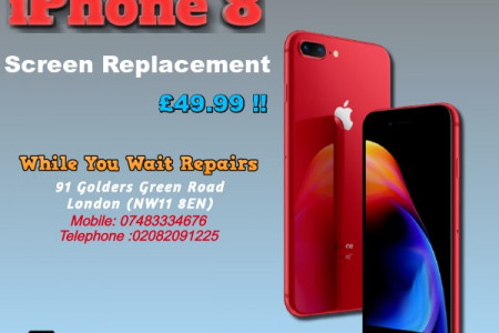 Same Day Apple iPhone 8 plus cracked screen Repairs London Infographic