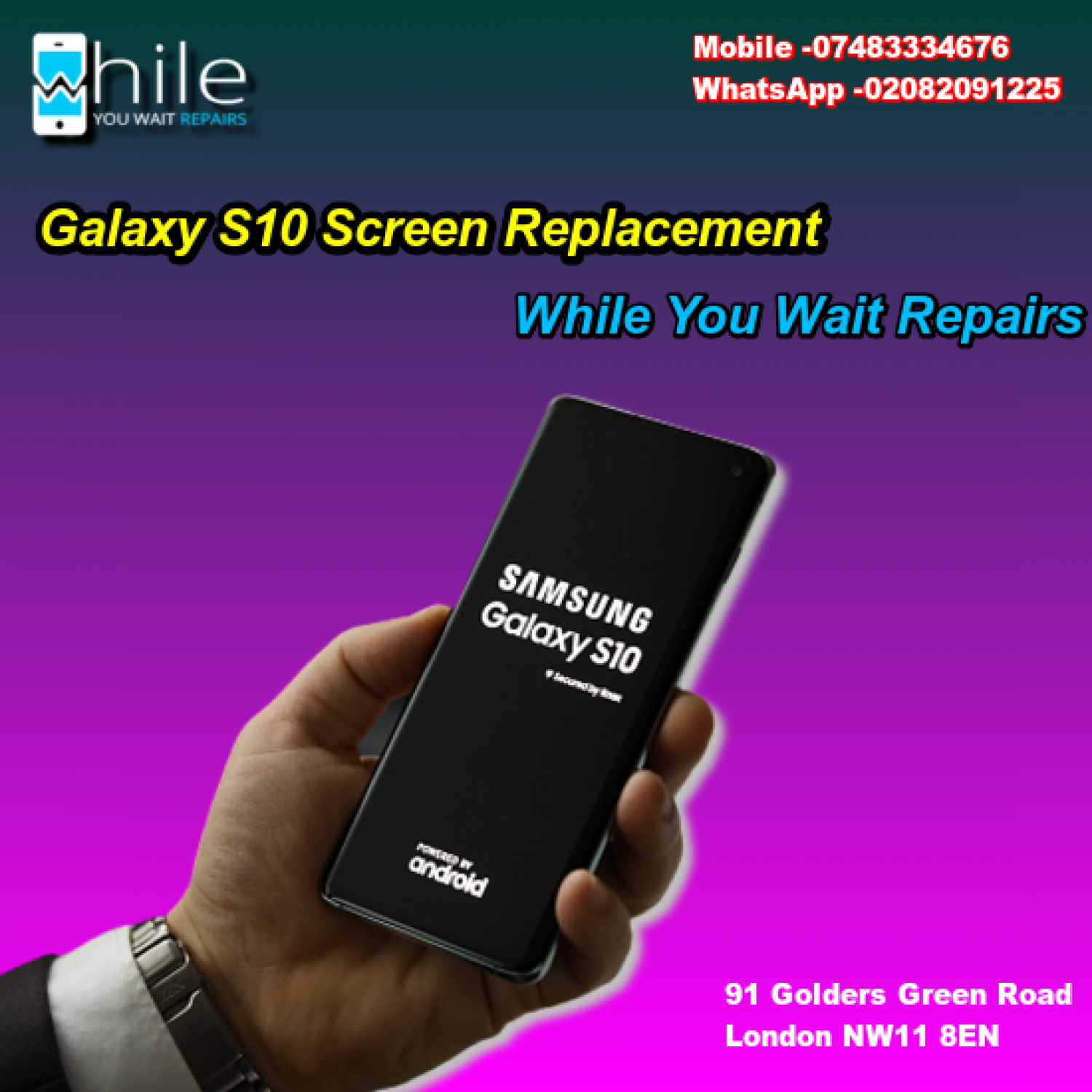 Same Day Galaxy S10 Cracked Screen Repair Service London Infographic