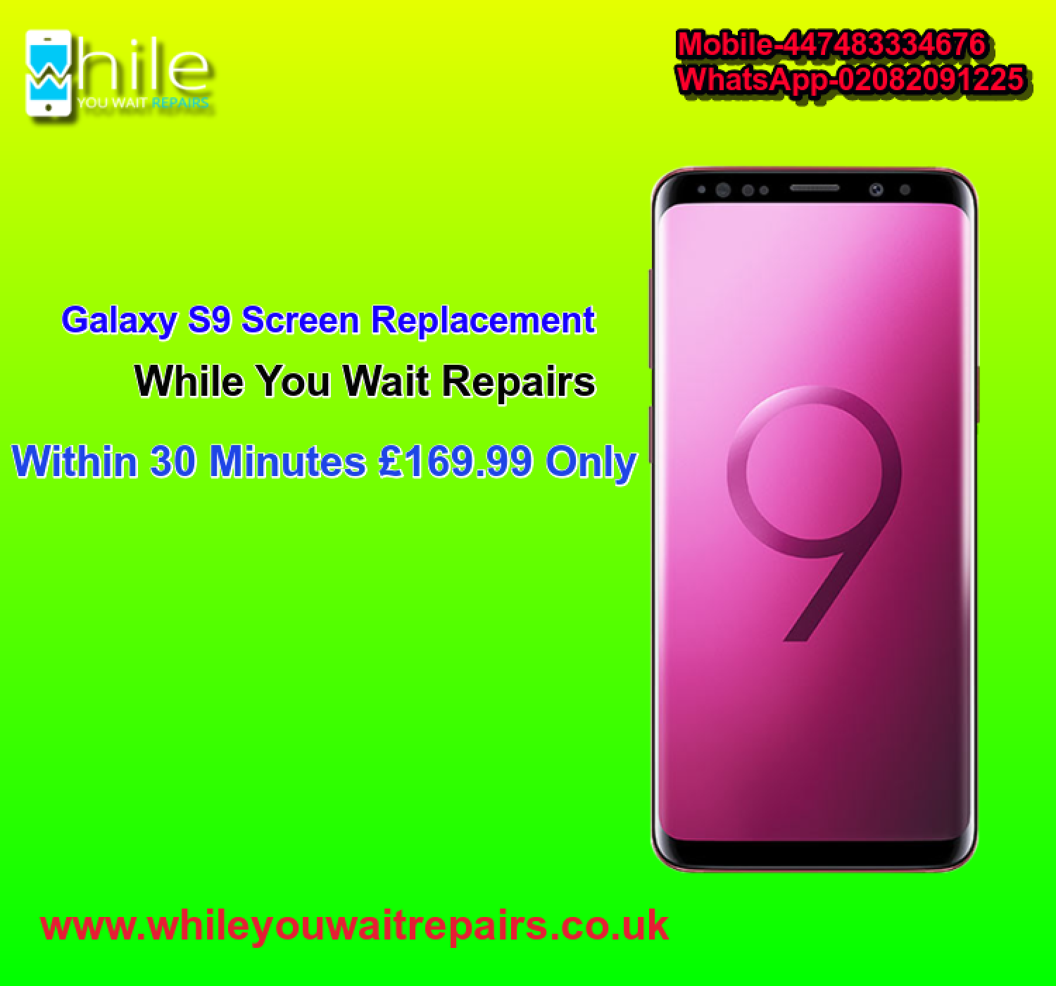 Same Day Galaxy S9 Cracked Screen Repair Service London Infographic