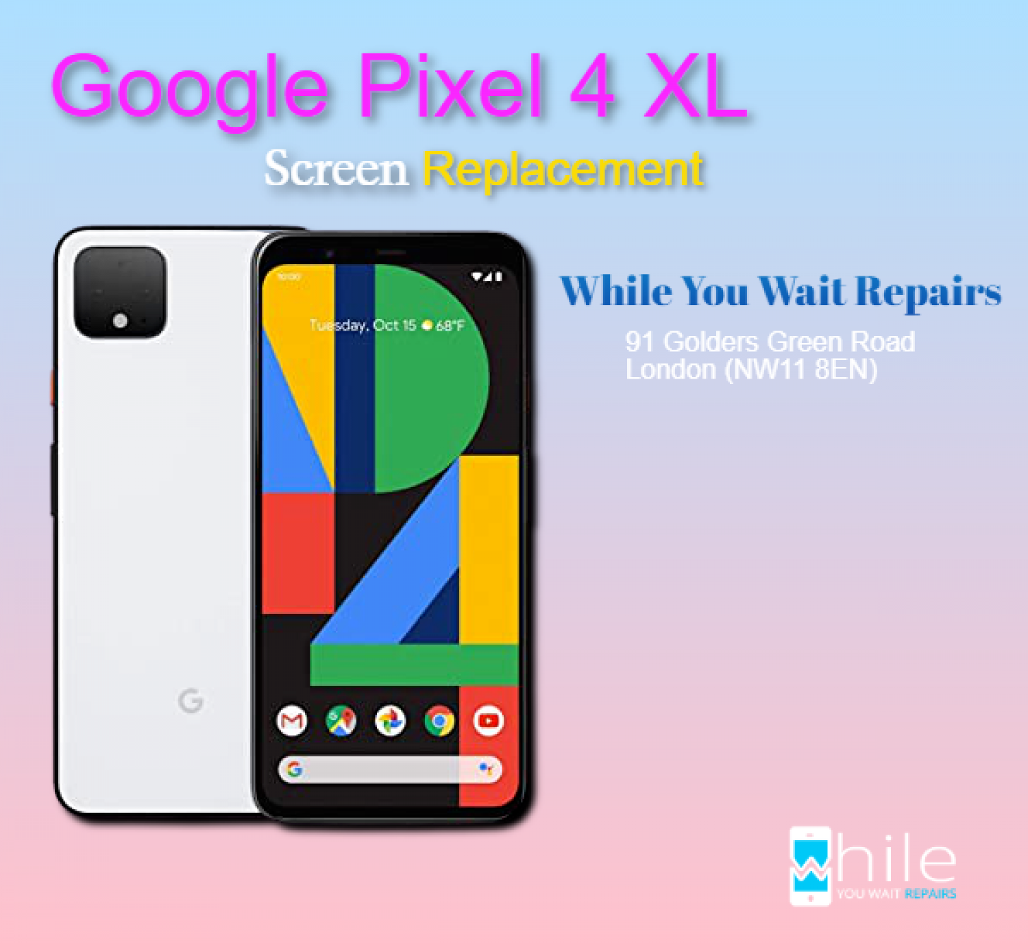 Same Day Google Pixel 4 XL Cracked Screen Repairs London Infographic