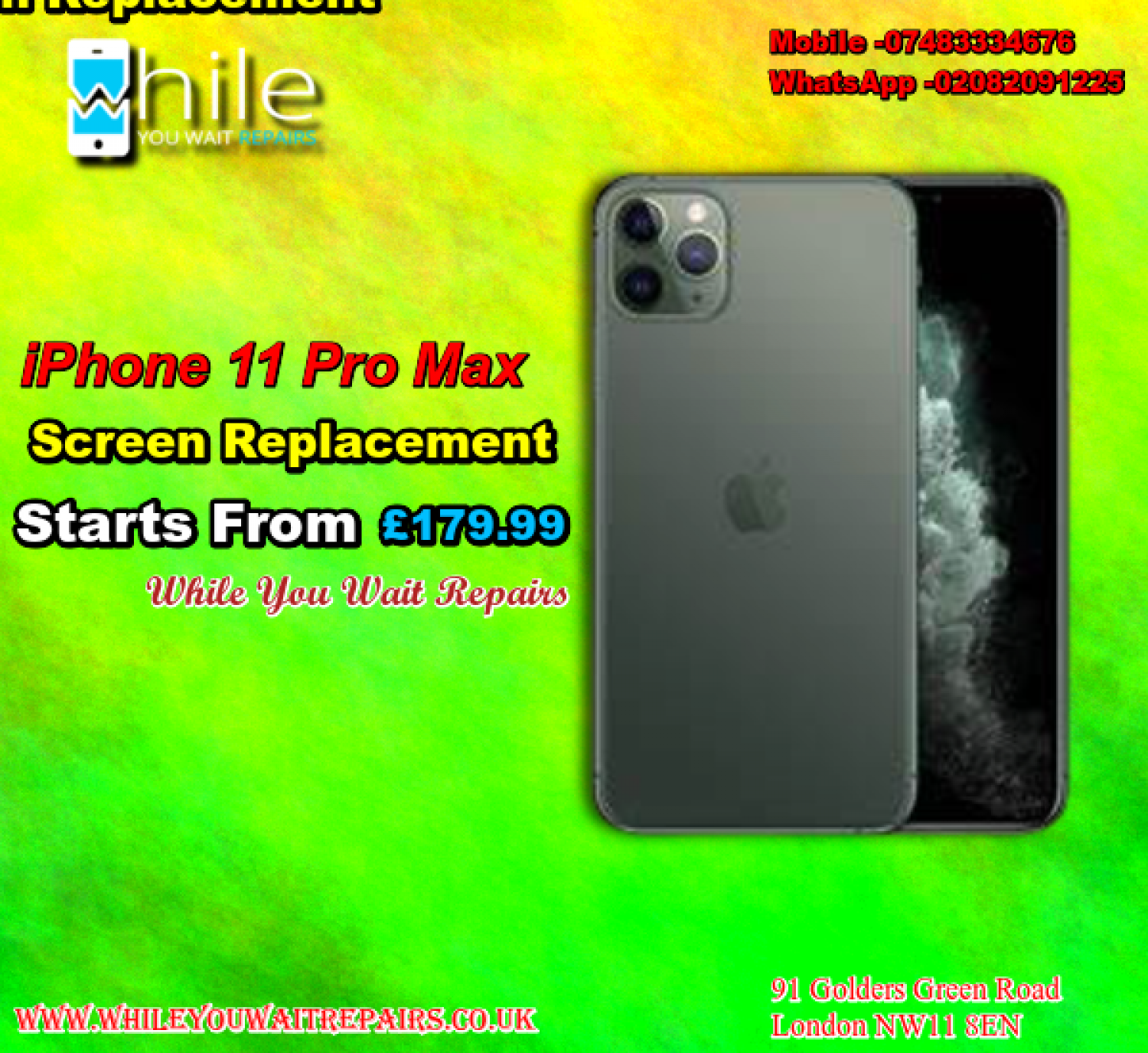 Same Day iPhone 11 pro max Screen repair Service London Infographic
