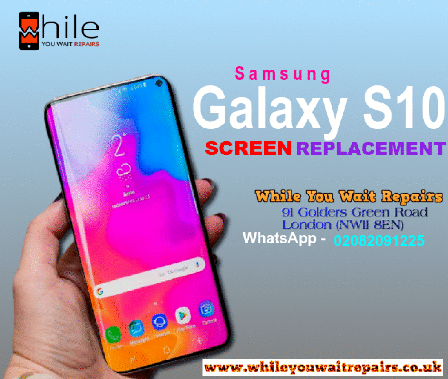 Same Day Samsung Galaxy S10 Cracked Screen Repairs London Infographic
