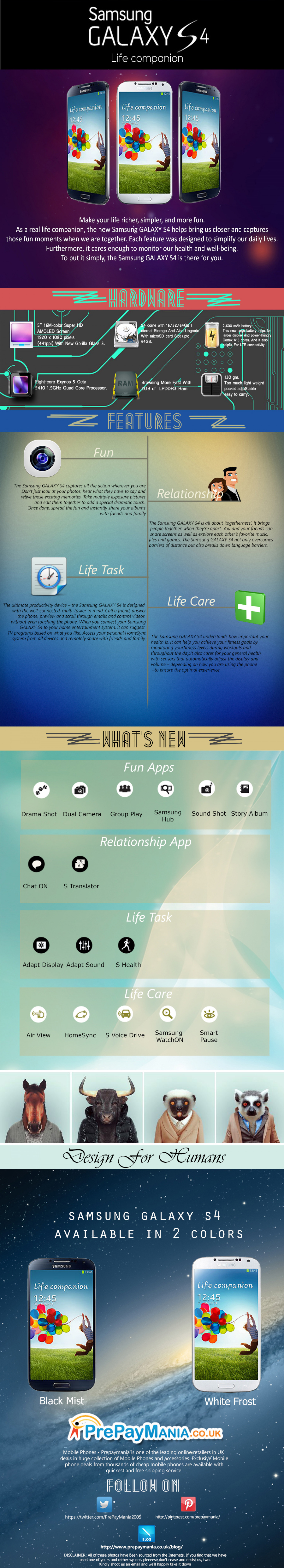 Samsung Galaxy S4 Features Infographic - PrePayMania Infographic