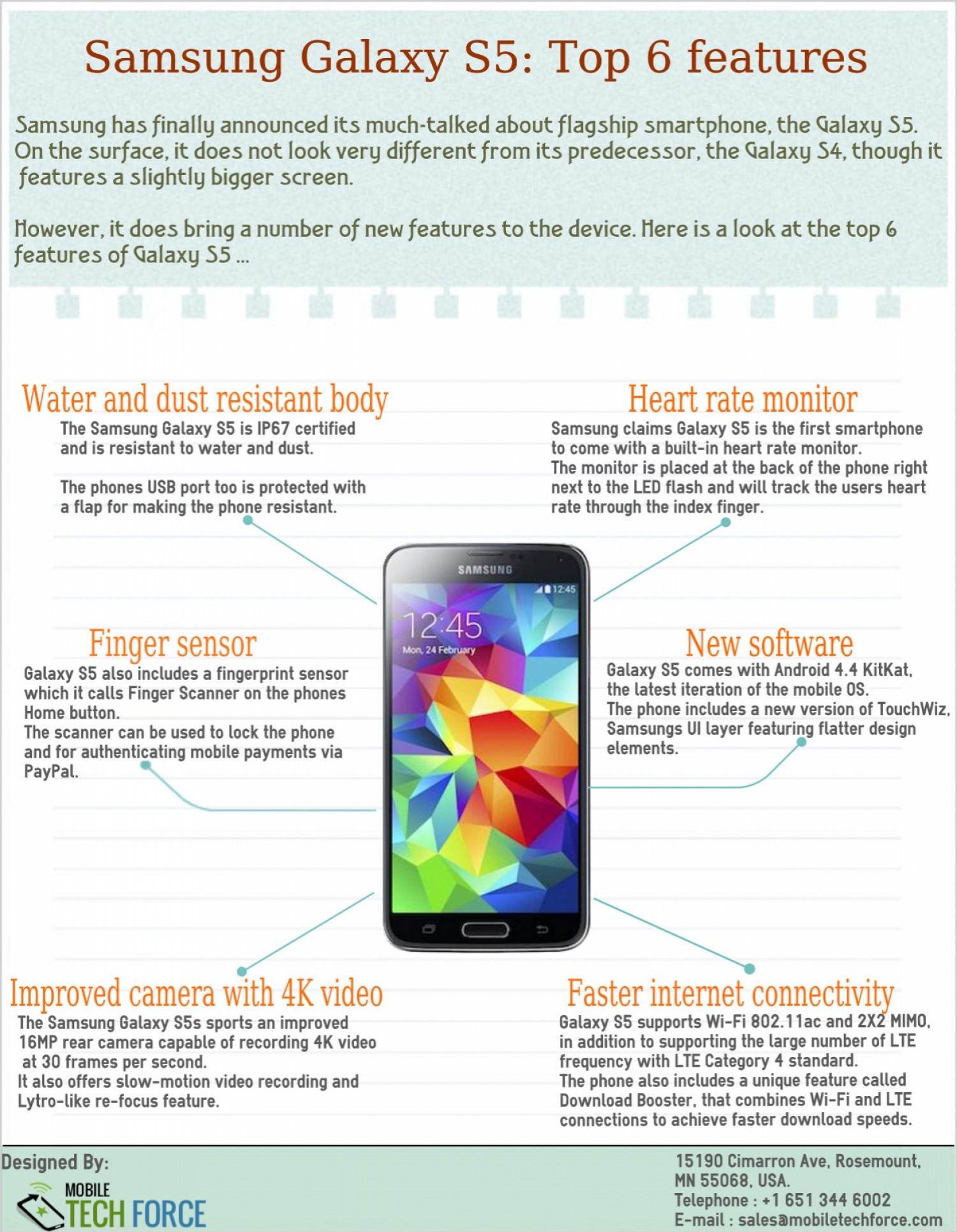 Samsung Galaxy S5: Top 6 Features Infographic