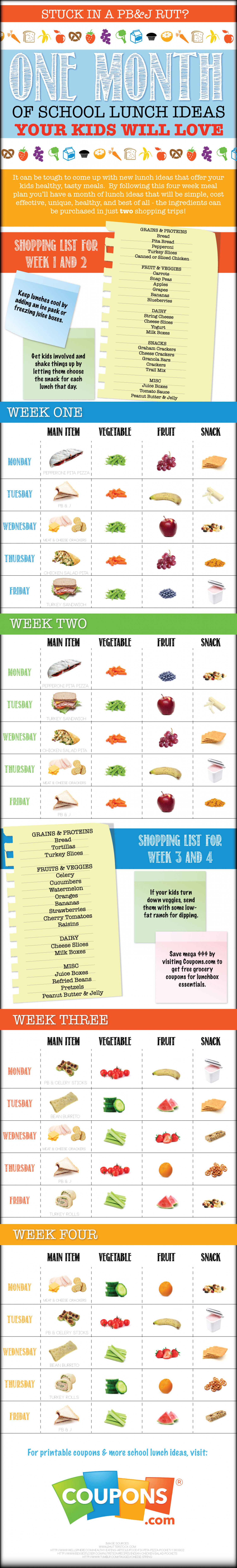 School Lunch Ideas Infographic