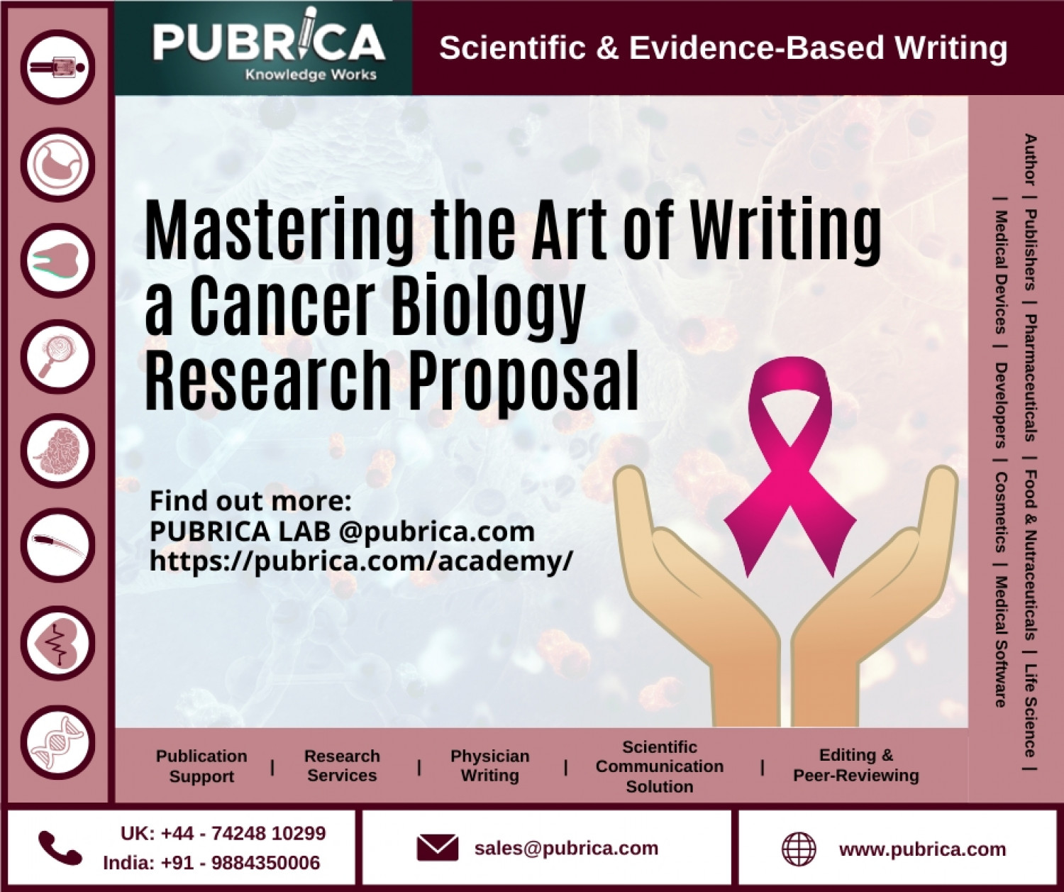 Scientific Cancer biology research proposal writing help: Pubrica.com Infographic