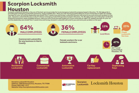 Scorpion Locksmith Houston Female and male Workers on site Infographic