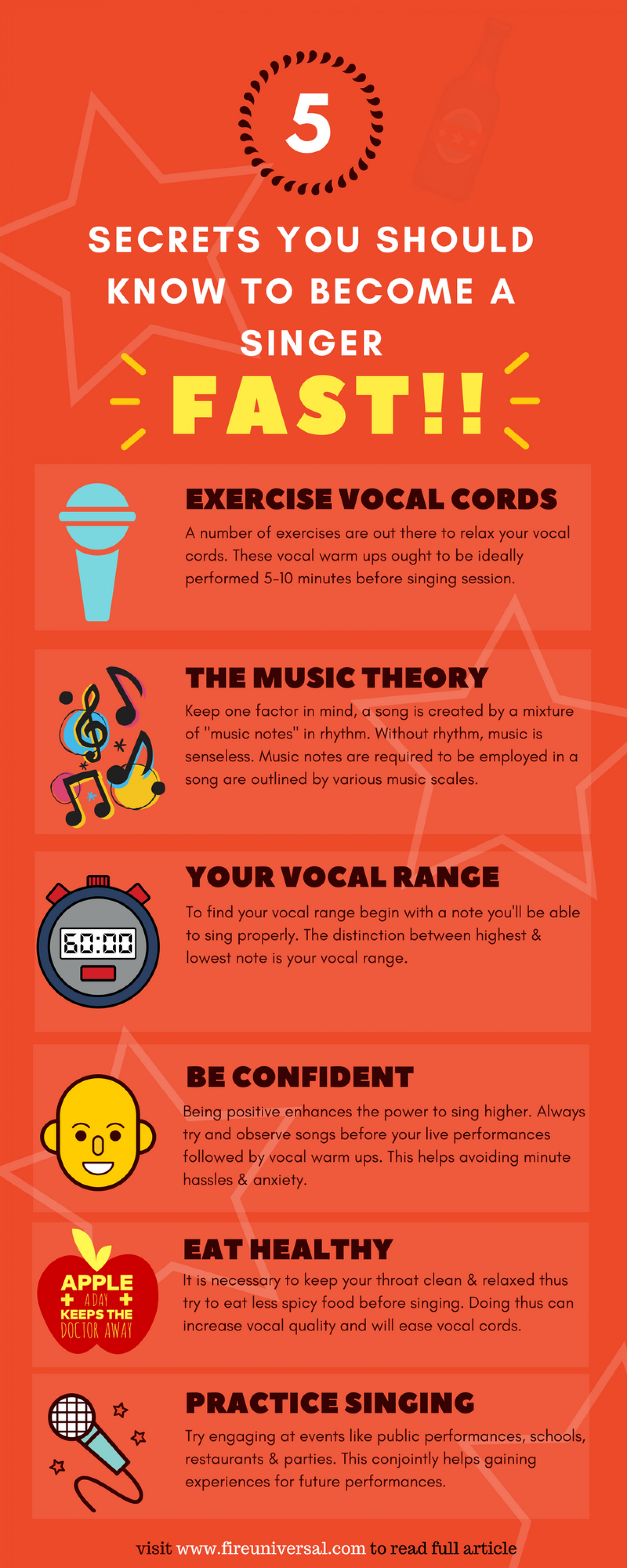 Secrets You Should Know to Become a Singer Infographic