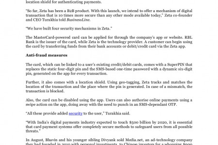 Security and Risk Online: Fintech firm Zeta launches card with anti-fraud measures Infographic