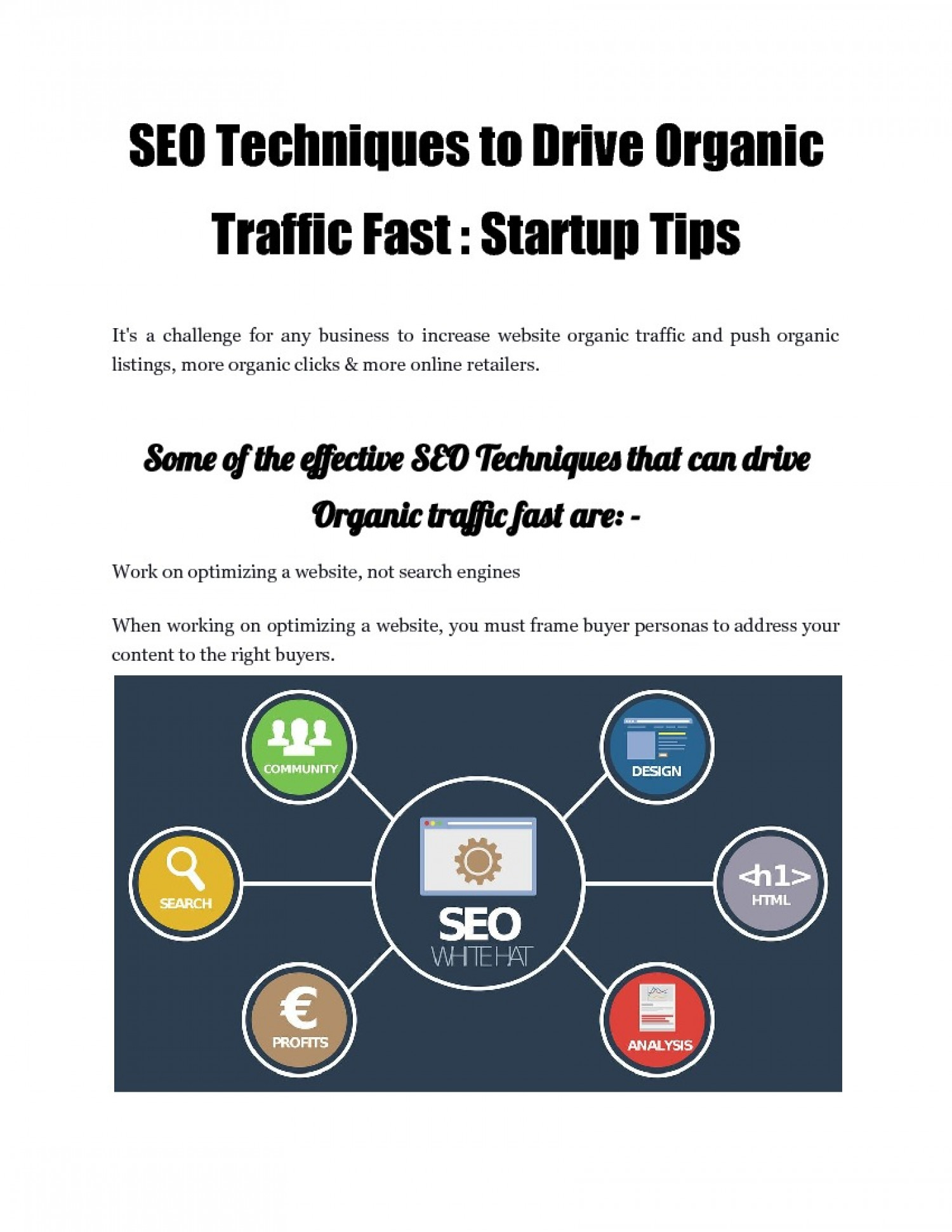 SEO Techniques to Drive Organic Traffic Fast - Startup Tips Infographic
