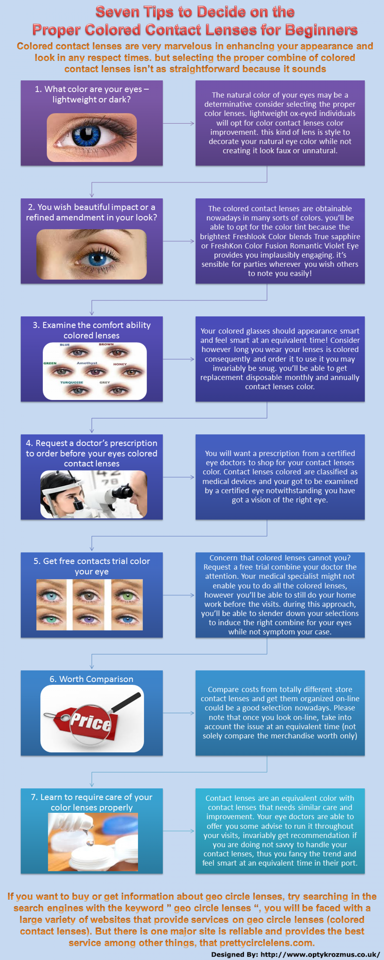 Seven Tips to Decide on the Poper Coloured Contact Lenses for Beginners Infographic