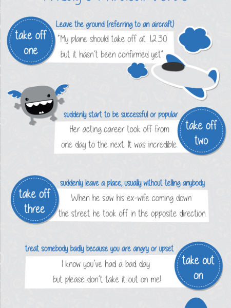 Shenker English Tips - Phrasal Verbs (Take off/out) Infographic