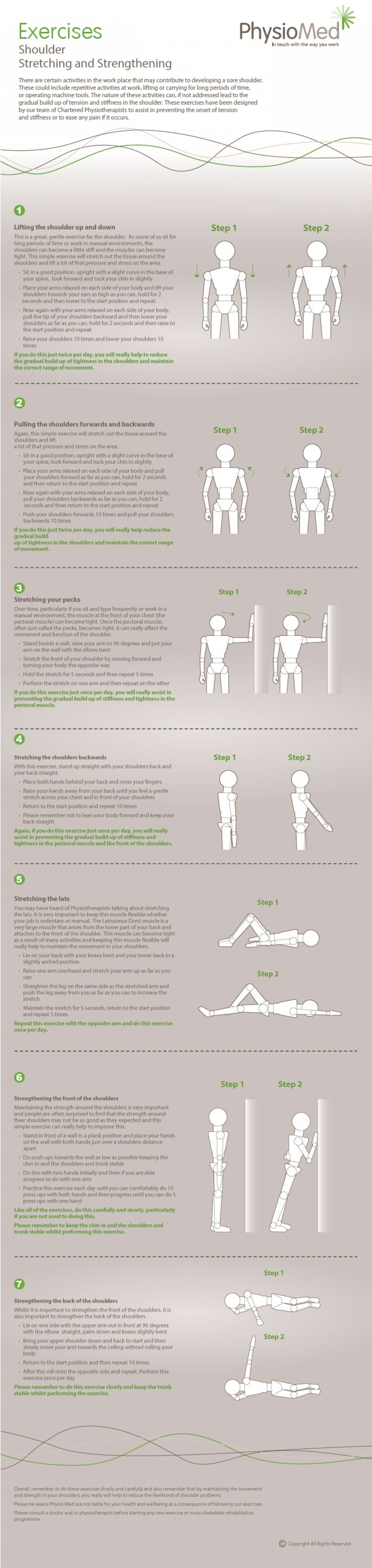 Shoulder Stretching and Strengthening Exercises: Occupational Physiotherapy - Physio Med Infographic