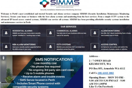 SIMMS (Security Installation Maintenance Monitoring Services Perth) Services Perth Infographic