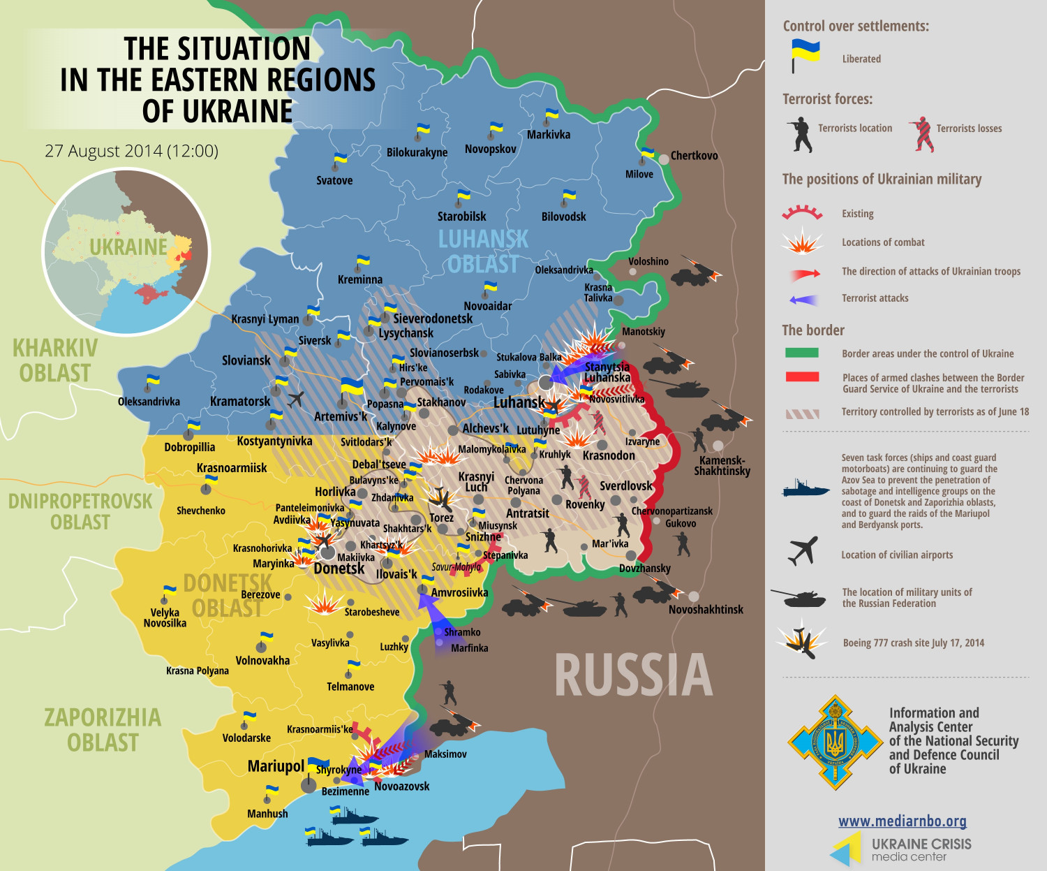 Situation in Eastern Regions of Ukraine, August 27 Infographic
