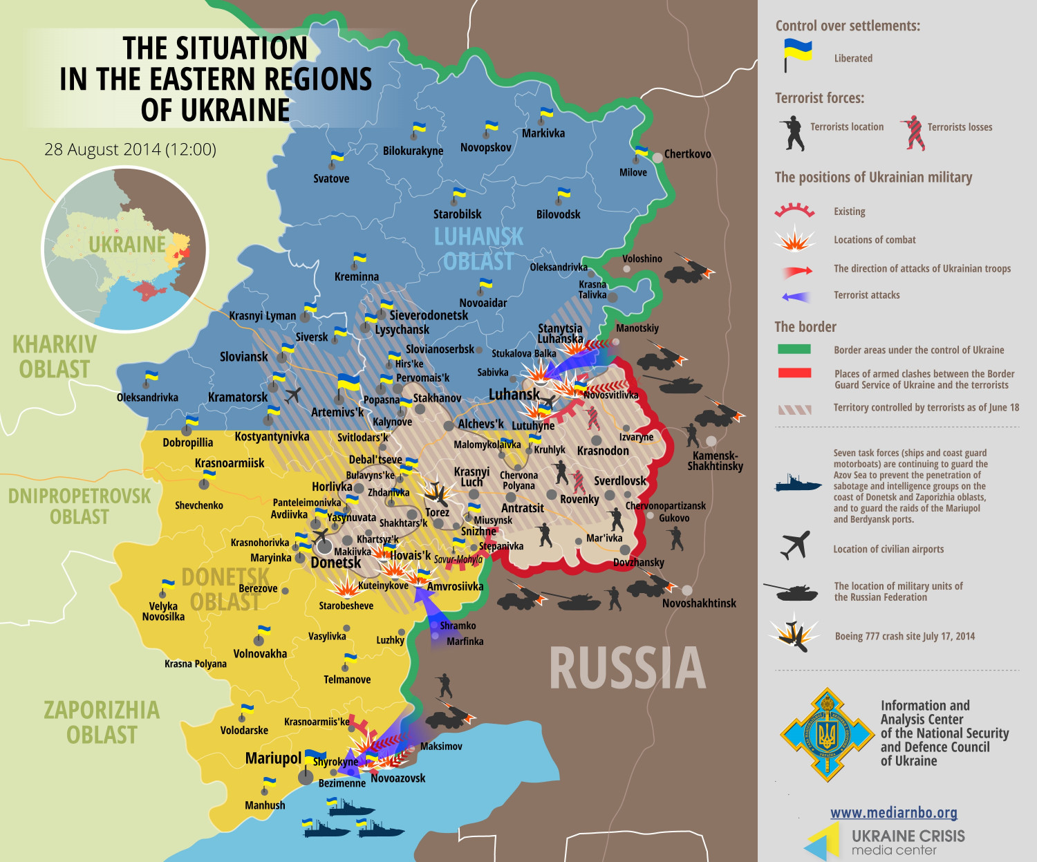 Situation in Eastern Regions of Ukraine, August 28 Infographic