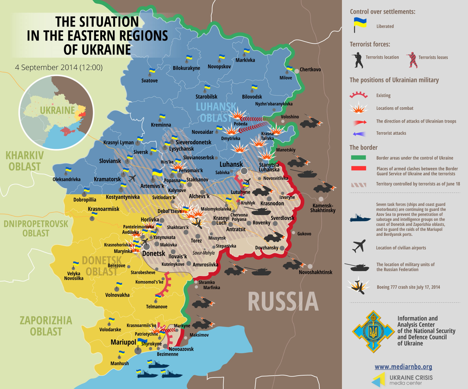 Situation in Eastern Regions of Ukraine, September 4 Infographic