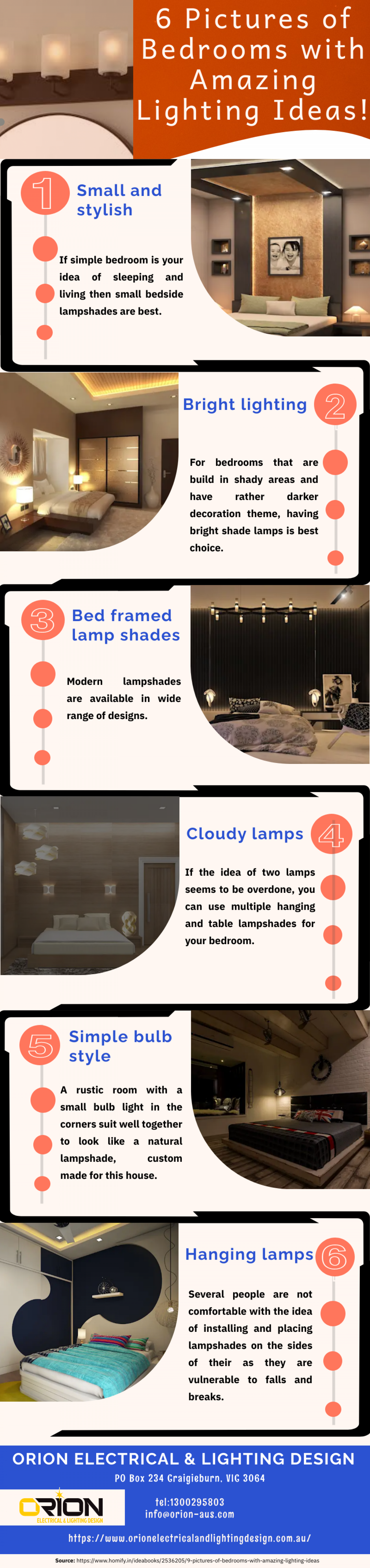 Six Pictures of Bedrooms with Amazing Lighting Ideas! Infographic