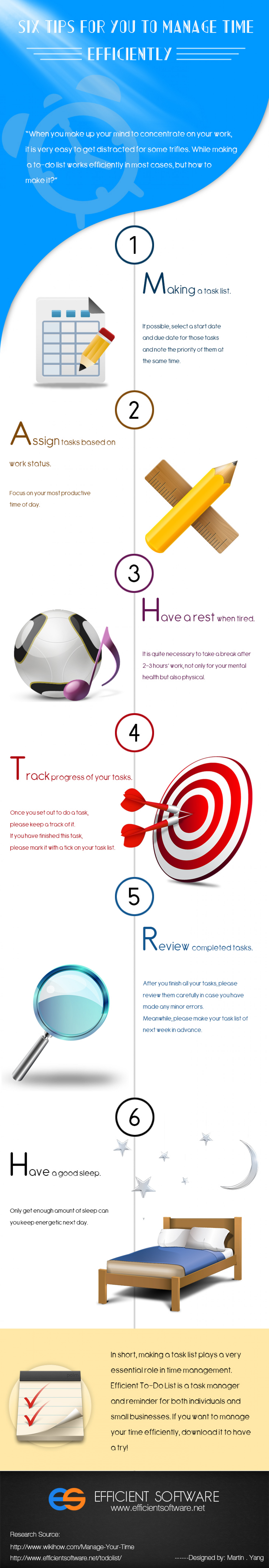 Six Tips for You to Manage Time Efficiently Infographic