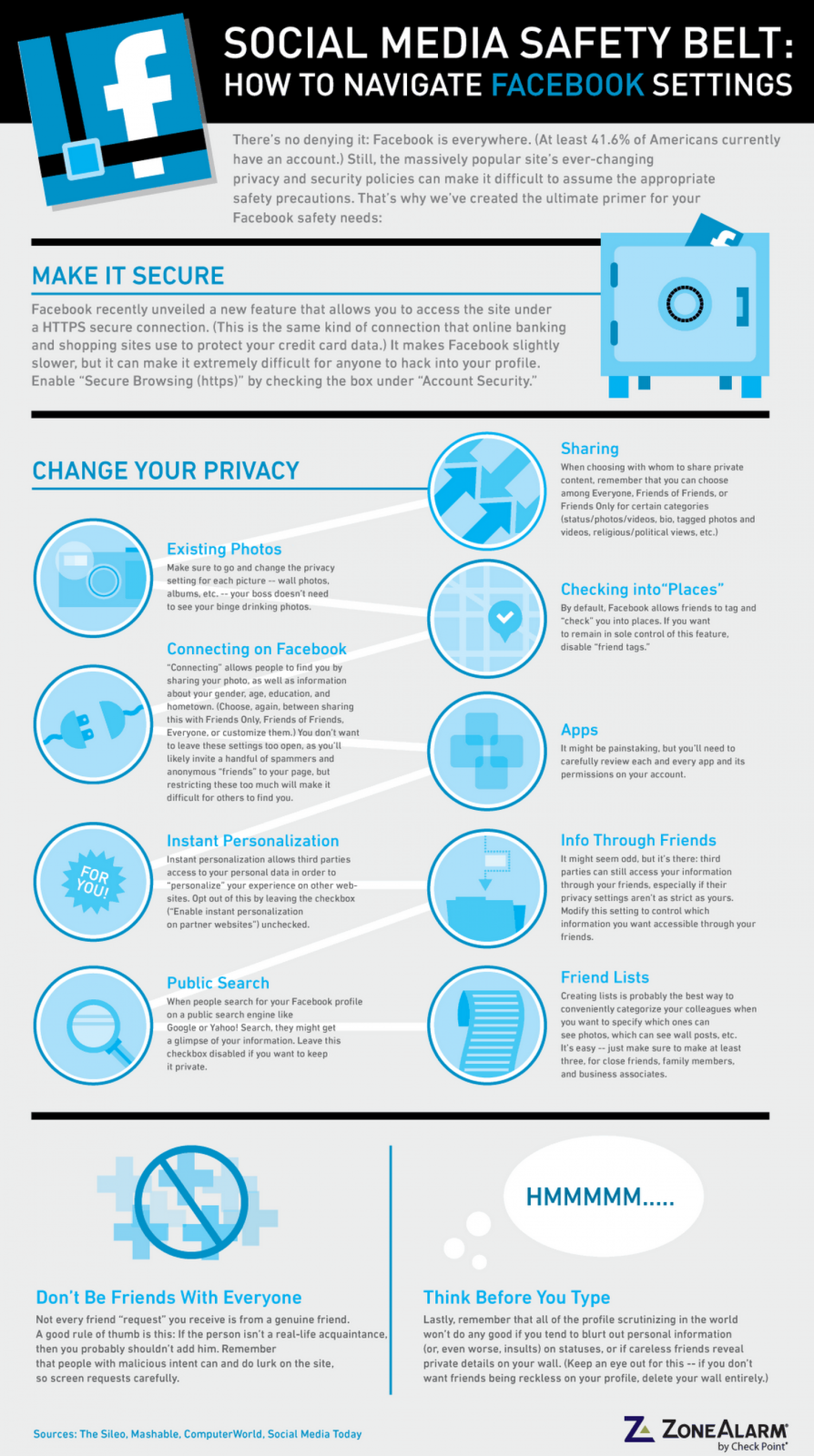 Social Media Safety Belt: How to Navigate Facebook Settings Infographic
