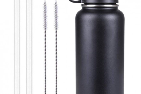 SPORTULA Wide Mouth Water Bottle, Straw Lid, Protective Silicone Boot, Plus Straws with Brushes- Price: $29.95 - $35.99 Infographic