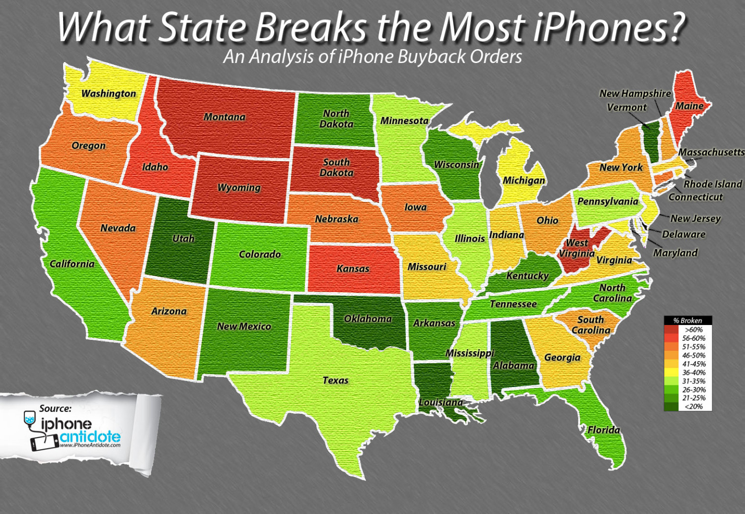 What State Breaks The Most Iphones? Infographic