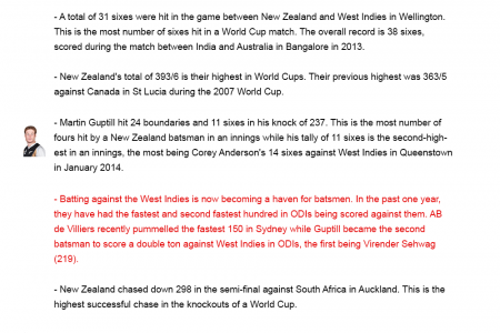 Stats: Cricket Worldcup 2015 Infographic