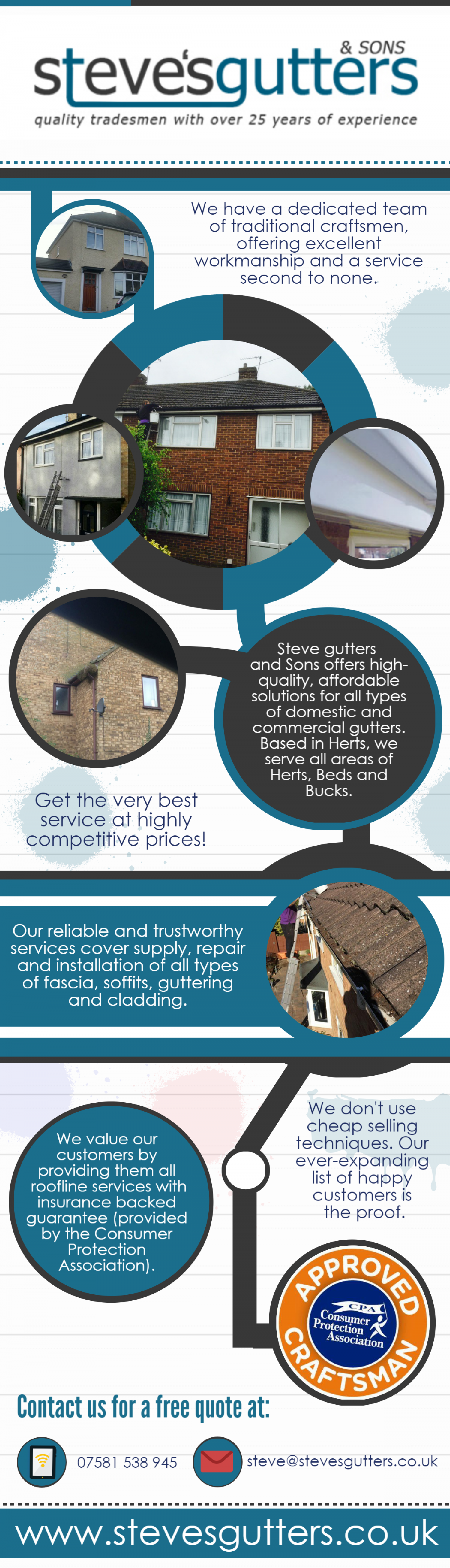 Steve's Gutters quality tradesmen with over 25 years of experience  Infographic