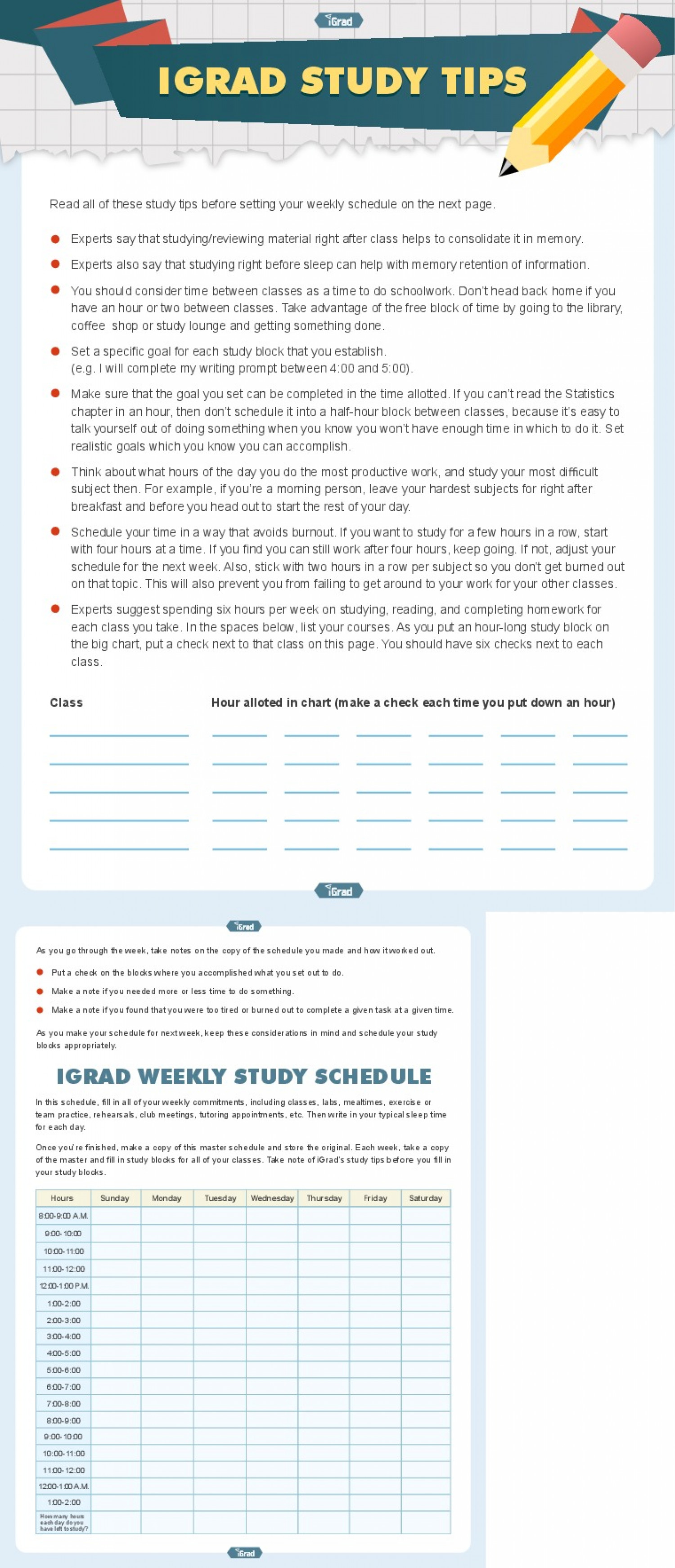 iGrad Study Tips Infographic