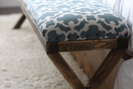 Super Easy DIY Upholstered X Bench Infographic