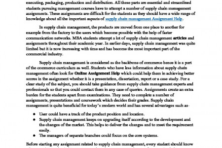 Supply Chain Management Assignment Help in India Infographic