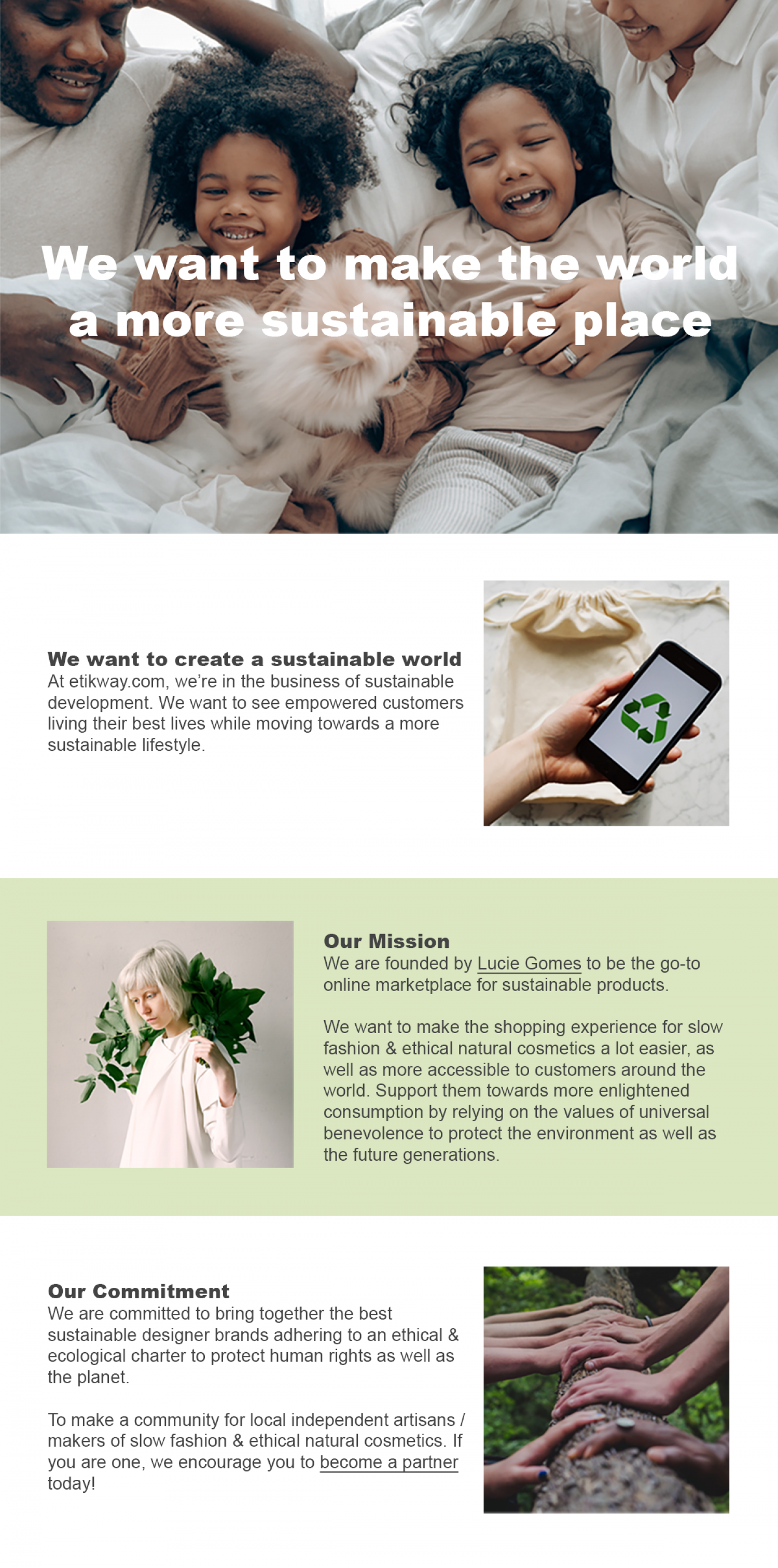 Sustainable Fashion & Natural Cosmetics Online Store Infographic