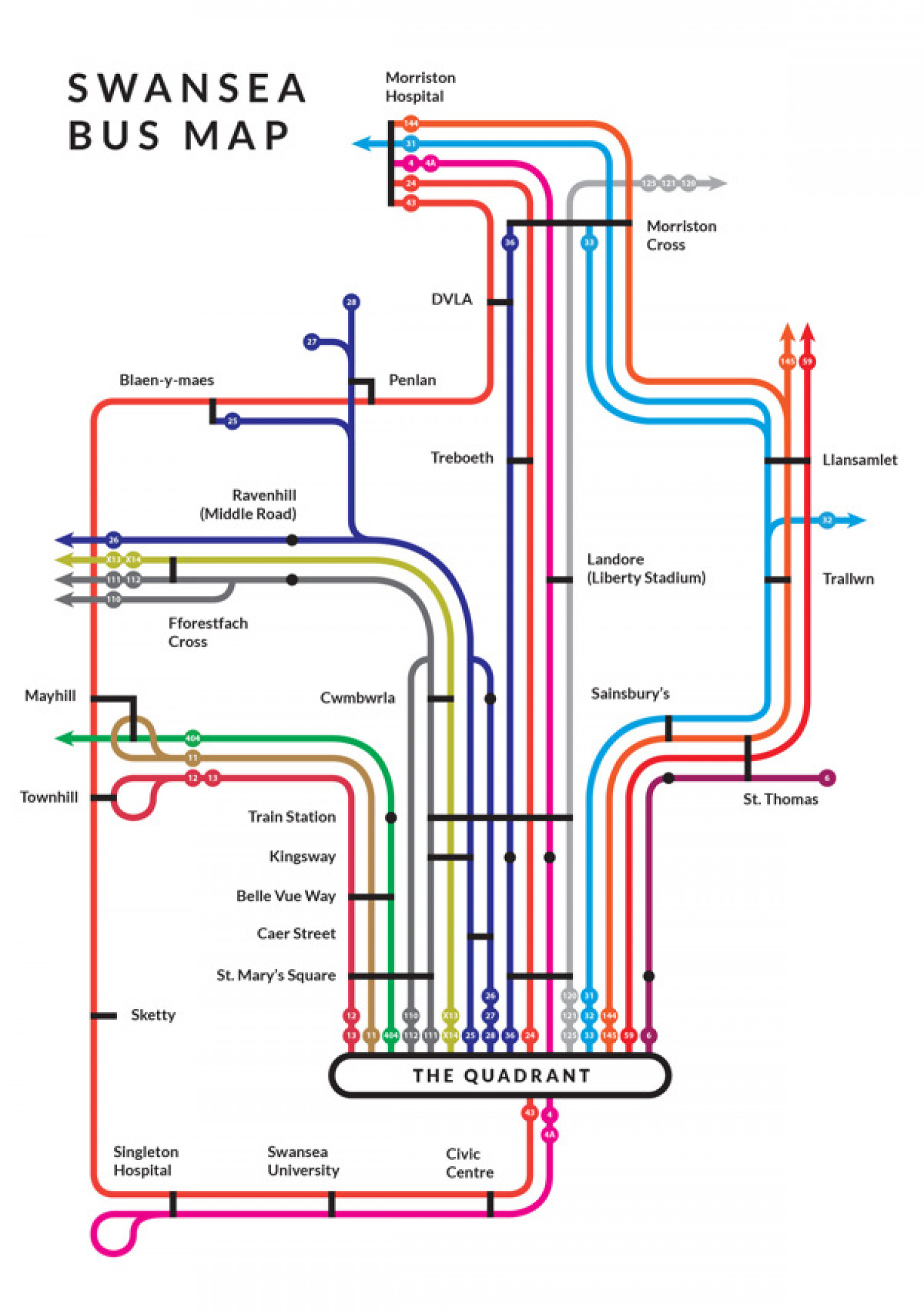 Swansea Bus Map Infographic