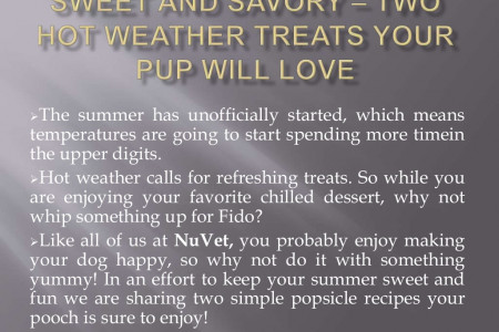 Sweet and Savory – Two Hot Weather Treats Your Pup Will Love Infographic