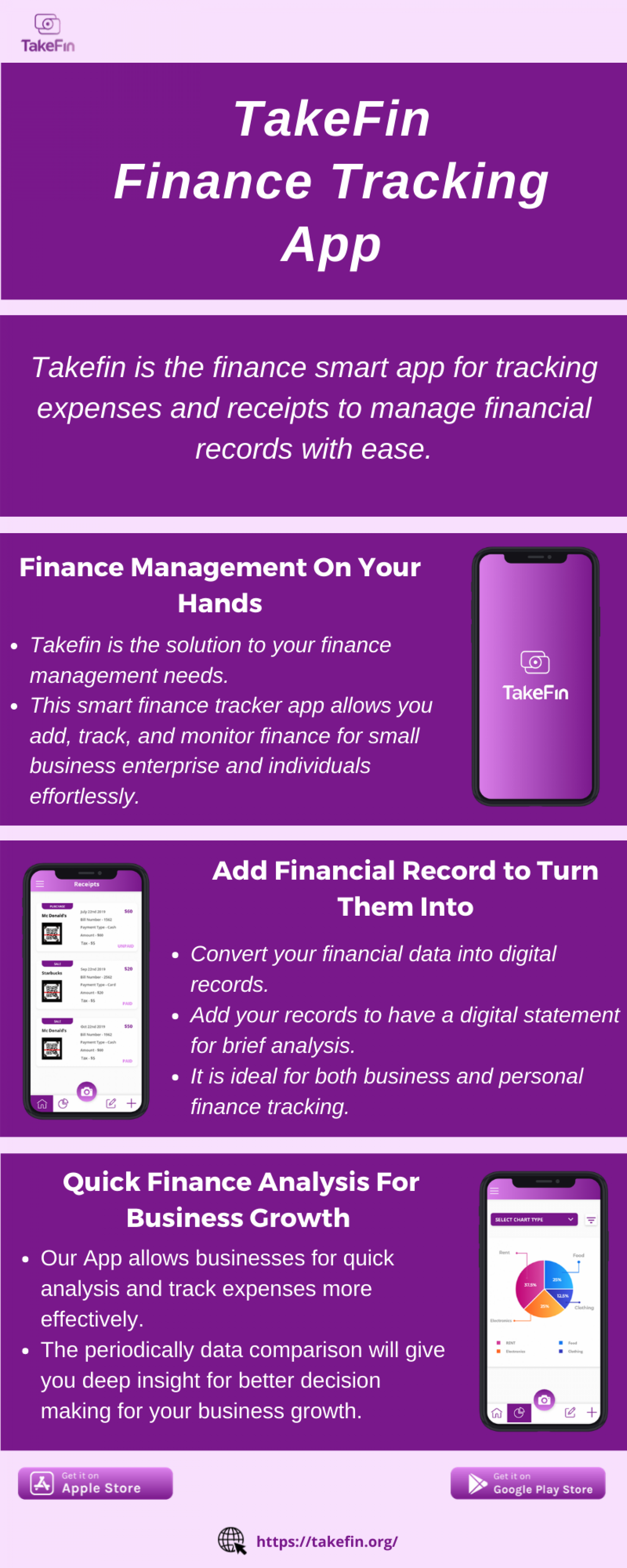TakeFin Finance - Business/Personal Finance Tracking App Infographic