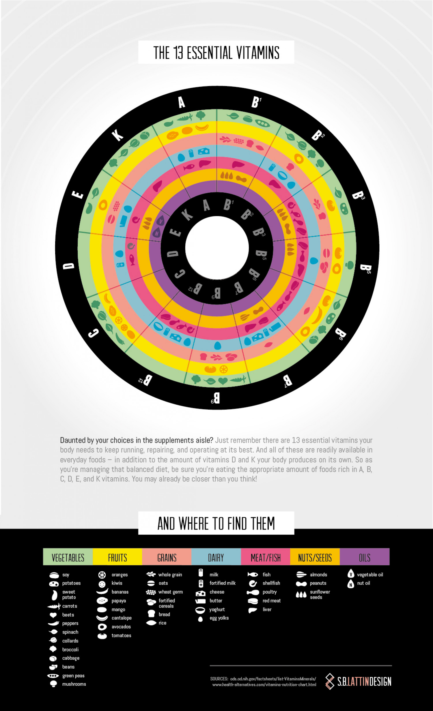 The 13 Essential Vitamins Infographic