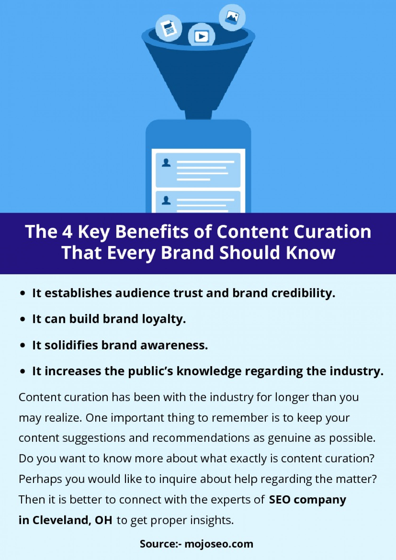 The 4 Key Benefits of Content Curation That Every Brand Should Know Infographic