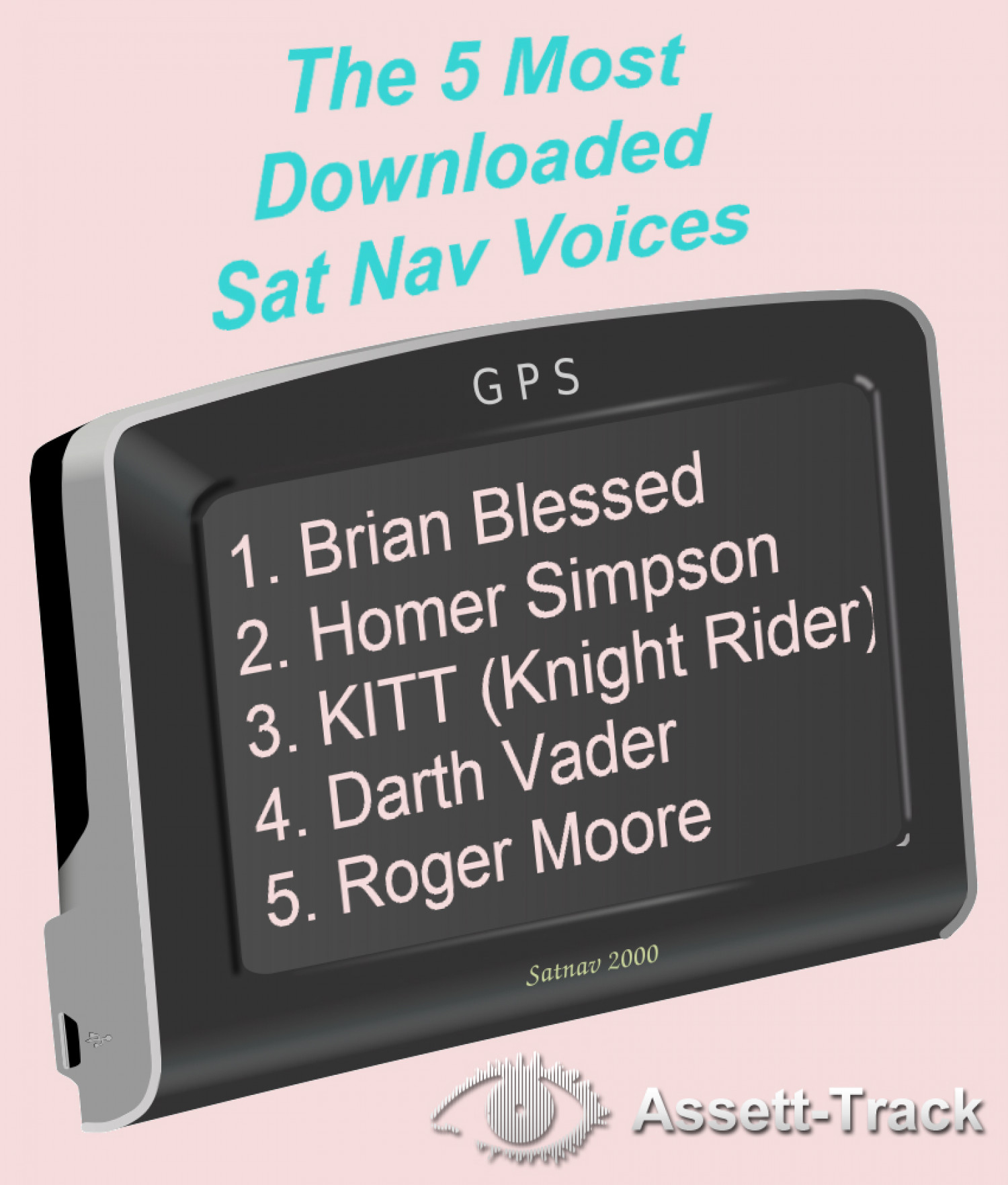 The 5 Most Downloaded Sat Nav Voices Infographic