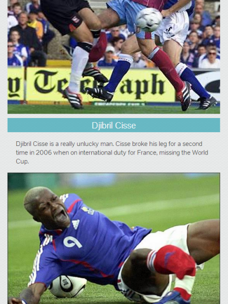 The 5 Most Terrible Leg Injuries in the History of Football Infographic